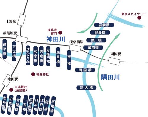 吾妻橋、アサヒビールの金色のオブジェと東京スカイツリーの3つを一体で撮ることができる撮影スポット